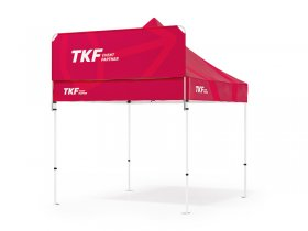 Printed banner that can be assembled above the tent roof collar to boost the eye-catching effect