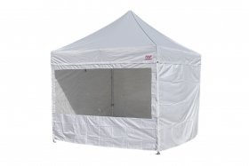 Side-panels for scissors tents