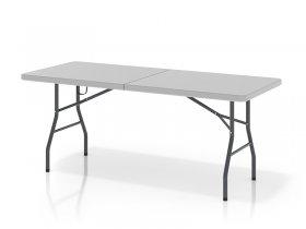 Foldable table consisting of two halves